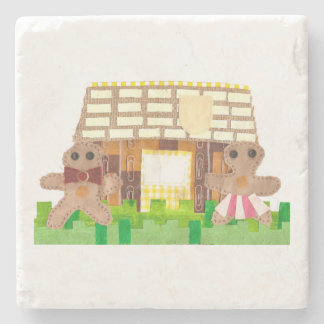 Gingerbread House Couple Marble Coaster