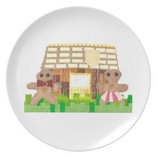 Gingerbread House Couple Melamine Plate