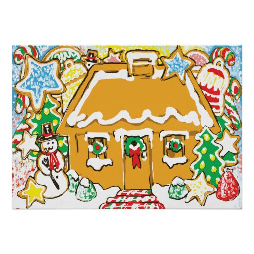 Gingerbread House Frosted Cookies Christmas Scene Poster