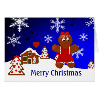 Gingerbread House Girl Merry Christmas Card
