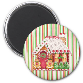 Gingerbread House & Gumdrops 6 Cm Round Magnet