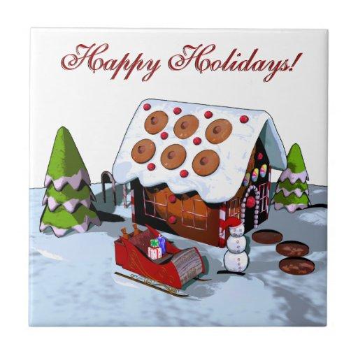 Gingerbread House Holiday Ceramic Tile Trivets