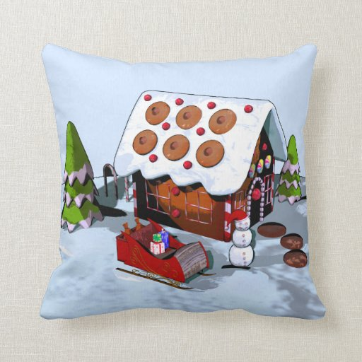 Gingerbread House Holiday Cushions Throw Pillows