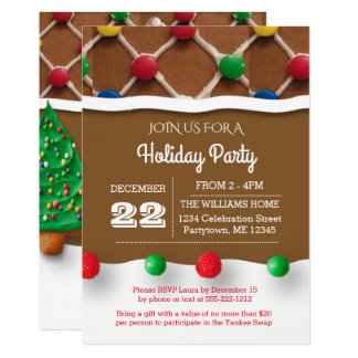 Gingerbread House Holiday Invitation