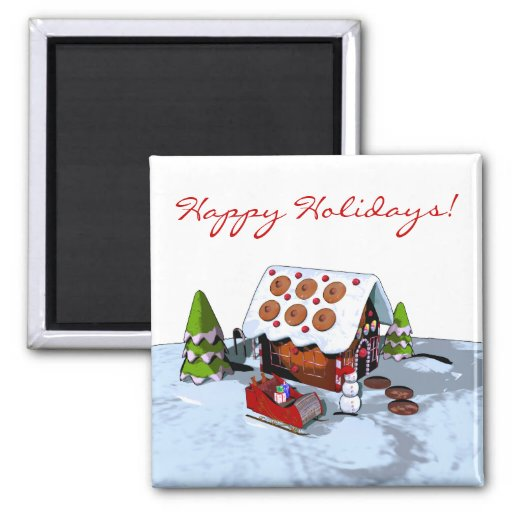 gingerbread house holiday magnet fridge magnets