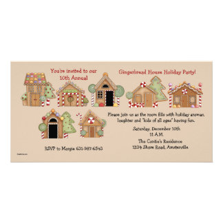 Gingerbread House - Holiday Party Invitation Picture Card