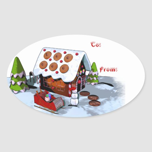 Gingerbread house Holiday Sticker Gift Tags Oval