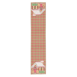 Gingerbread House on Plaid - Table Runner