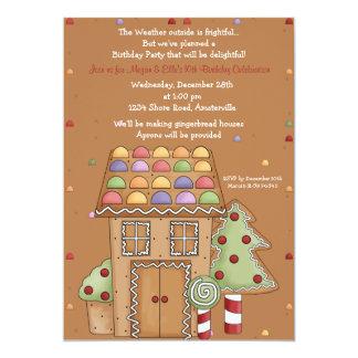 Gingerbread House - Photo Birthday Party Invitatio Card