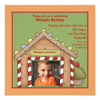 Gingerbread House Photo Birthday Party Invitation