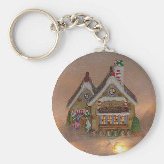 Gingerbread House Porcelain Basic Round Button Key Ring