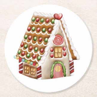 Gingerbread House Round Paper Coaster
