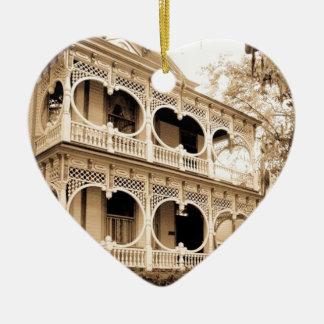 Gingerbread House - Savannah, GA Ceramic Heart Decoration