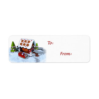Gingerbread House Self-Stick Holiday Gift Tags Return Address Label