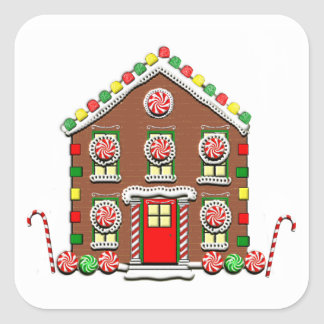 Gingerbread House Square Sticker