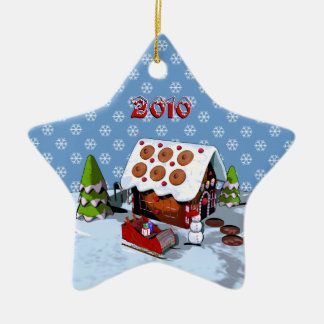 Gingerbread House Star Ceramic Holiday Ornament