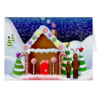 Gingerbread house with reindeer greeting cards