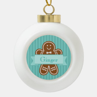 Gingerbread Hugs Ceramic Ball Christmas Ornament