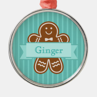 Gingerbread Hugs Silver-Colored Round Decoration