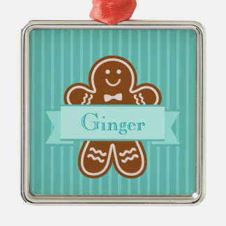 Gingerbread Hugs Silver-Colored Square Decoration
