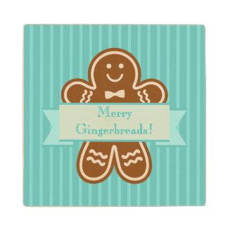 Gingerbread Hugs Wood Coaster