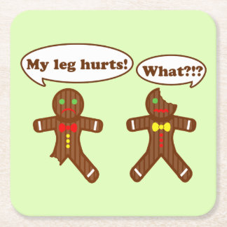 Gingerbread Humor Square Paper Coaster