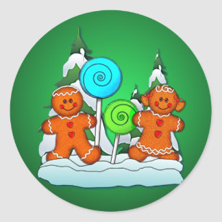 GINGERBREAD KIDS AND LOLLIPOPS by SHARON SHARPE Classic Round Sticker