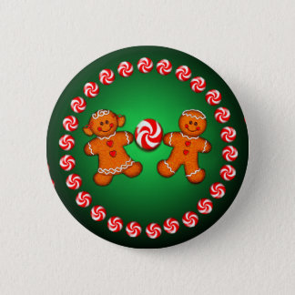 GINGERBREAD KIDS & CANDY by SHARON SHARPE 6 Cm Round Badge