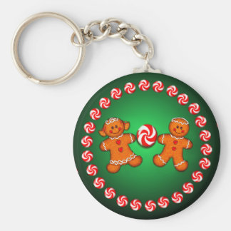GINGERBREAD KIDS & CANDY by SHARON SHARPE Key Ring