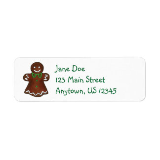 Gingerbread Lady Woman Christmas Cookie Xmas Label Return Address Label