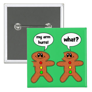 gingerbread man 15 cm square badge
