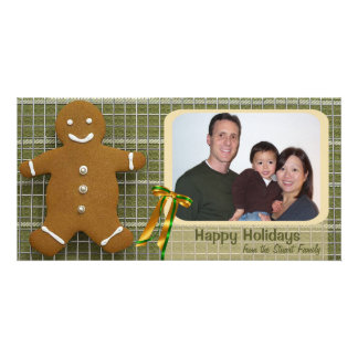 Gingerbread Man And Ribbon Photo Holiday Card Personalized Photo Card
