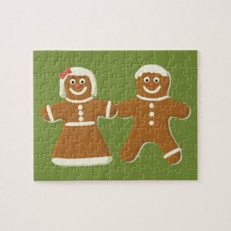 Gingerbread Man and Woman on Green Jigsaw Puzzle
