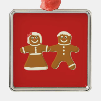 Gingerbread Man and Woman on Red Christmas Ornament