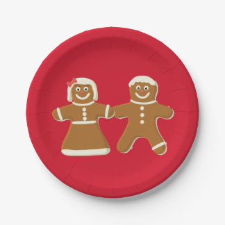 Gingerbread Man and Woman on Red Paper Plate