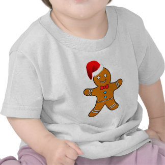 gingerbread man at christmas tee shirts