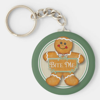 Gingerbread Man - Bite Me Basic Round Button Key Ring