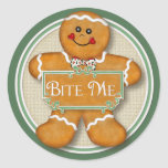 Gingerbread Man - Bite Me Round Stickers