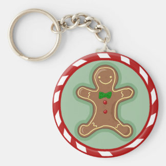 Gingerbread Man Candy Basic Round Button Key Ring
