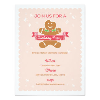 Gingerbread Man Christmas Cookie Exchange Card
