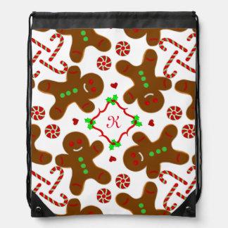 Gingerbread man Christmas Monograme Drawstring Backpacks