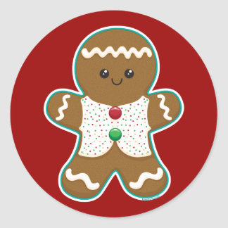Gingerbread Man Classic Round Sticker