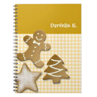 Gingerbread man cookie brown fun holiday kitchen spiral note book