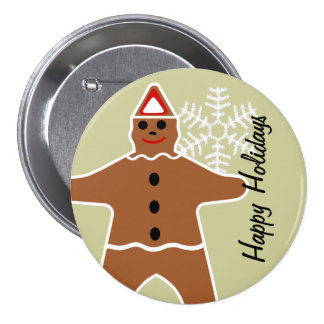 Gingerbread Man Cookie Christmas Button