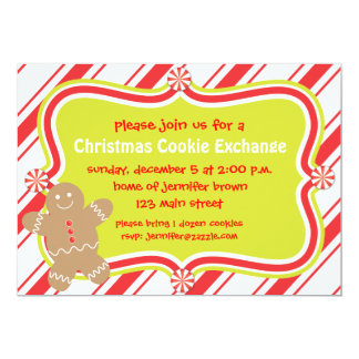Gingerbread Man Cookie Christmas Invitation