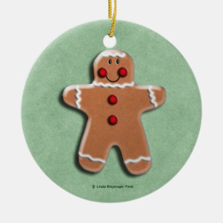 Gingerbread Man Cookie  Green Double-Sided Ceramic Round Christmas Ornament