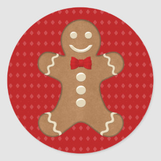 Gingerbread Man Cookie Holiday Round Sticker