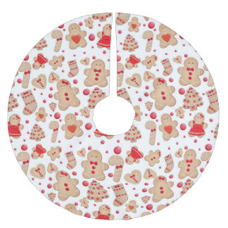 Gingerbread Man Cookies Christmas Holiday Brushed Polyester Tree Skirt