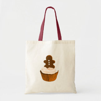 Gingerbread man cupcake tote budget tote bag