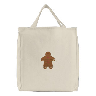 Gingerbread Man Embroidery Pattern Tote Bag